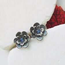 Mondstein blau weiß rund Blüte Blume Ohrringe Ohrstecker 925 Sterling Silber neu