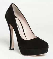 MIU MIU Black Suede Heel Platform Shoes UK 5, EU 38