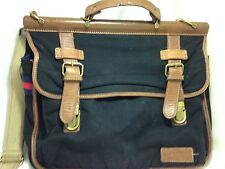 $275 TOMMY HILFIGER Double Gusset Portfolio Messenger Bag Briefcase BLACK Canvas