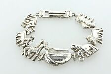 Noah's Ark Biblical Picturesque Animals Sterling Silver 925 Bracelet - 7""