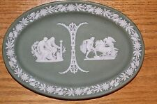 Antique Wedgwood Green Jasper Ware Oval Pin Tray Aesculapius Ullysses (c.1903)