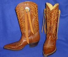 VINTAGE 7 D NOCONA POINTED NEEDLE TOE MENS WOMENS 8 CONCHO COWBOY BOOTS