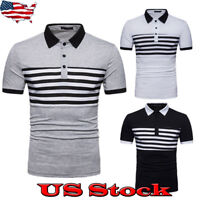 USA Men's Slim Fit Polo Shirts Striped Short Sleeve Casual Golf T-shirt Tee Tops