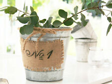 ANTIQUE VINTAGE  FRENCH SHABBY CHIC GALVANISED BUCKET HERB PLANTER POT CHRISTMAS