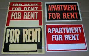 """LOT OF 6 FOR RENT SIGN 9"""" X 12"""" DURABLE PLASTIC"""