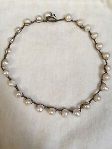 Handcrafted Crochet Pearl Beaded Necklace