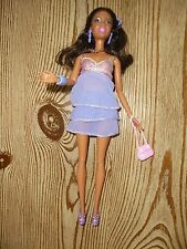 AFRO AMERICAN BLACK BARBIE ARTICULATE DOLL WEARING PURPLE DRESS CLOTHES