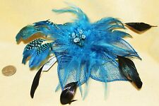 Giant Blue Steampunk Burlesque Feather Tribal Flower Belly Dancing Hair CLIP PIN