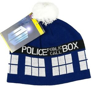 Official BBC Doctor Who TARDIS Knitted Pom Beanie Hat Cap Blue White One Size