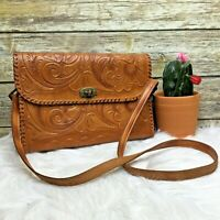 Artisan Brown Floral Embossed Leather Hand Tooled Boho Purse Shoulder Bag