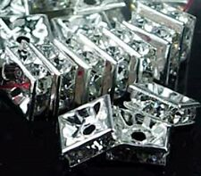 6mm Silver Rhinestone Square Rondelle Beads (30pc)
