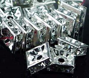 25 Silver Rhinestone Square Rondelle Beads 6mm
