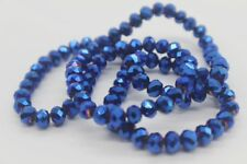 100 pce Tanzanite Metallic Blue Electroplate Faceted Abacus Glass Beads 6 x 5mm