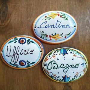 Targa - Ceramica Dipinta a mano - Stanze Nomi - Made in Italy cm. 7 x 9,5