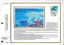 2590++FEUILLET CEF SUR  SOIE1er JOUR 1989 CHAMPIONNAT DU MONDE DE CYCLISME