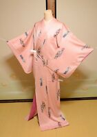 Kimono Komon Silk Women Pink Japanese vintage Geisha Robe Cosplay Costume /509