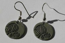 Flower inlay charm earrings, silver color, drop/dangle, handmade