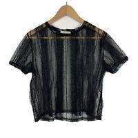 Zara Womens Top Black Size Medium Short Sleeve Sheer Good Condition