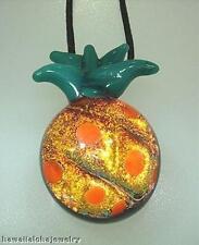 Lampwork Dichroic Color Glass Hawaiian Hala kahiki Pineapple Pendant Adjust #2