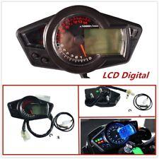 Black Motorcycle 15000RPM LCD Digital Odometer Speedometer tachometer Universal