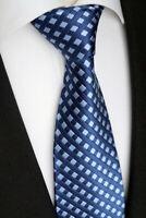 Handgefertigte Luxus Herren Seiden Krawatte, Kariert, Dunkel-, Hellblau, K 96.5