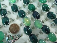 [US SELLER] 15pc green agate stone costume jewelry rings Wholesale jewerly lots