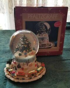 Pfaltzgraff Christmas Heritage Deck the Halls Musical Snow Globe Moving Train