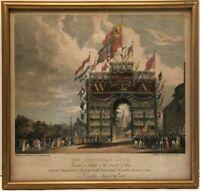"Original Antique M. Gauci Lithograph ""The Triumphal Arch"" Framed In London."
