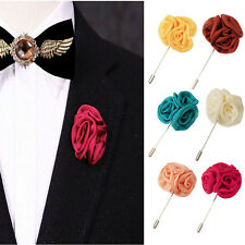 Lapel Silk Rose Flower Handmade Boutonniere Stick Brooch Pin Men AccessoryLD