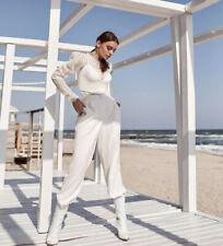 Novia pantalones novia del registro civil 32 hasta 70 Ivory boda crepe vestido