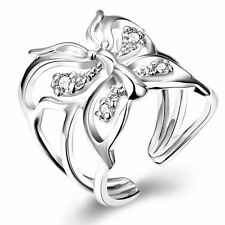 925 Silver Plt Adjustable Open Butterfly Ring Thumb Ladies Gift Dragonfly  B