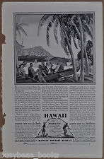 1928 HAWAII Tourist Bureau advertisement, Palm trees, beach, out-rigger canoe