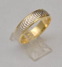 14K Solid YELLOW WHITE GOLD WEDDING BAND Diamond Cut 5.8 mm RING SIZE 11 6.4 G