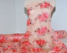STRETCH MESH  LACE FLOWERS  SEQUIN FABRIC CORAL , PAGEANT ,FORMAL DRESS , BRIDAL