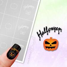 Schablonen Airbrush + Nailart M607 Kürbis Halloween Herbst Schrift klebend