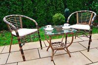 Gartenmöbel  Set Poly Rattan Gartengarnitur Sitzgruppe Essgruppe Tisch+2 Stühle