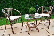 Mobili DA GIARDINO SET Poly Rattan giardino mobili da salotto sala da pranzo tavolo +2 SEDIE