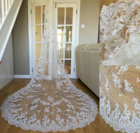 White Ivory Cathedral Length Wedding Bridal Veils Vintage Long Lace Veils 3M