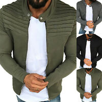 Men Sweater Winter Long Sleeve Zip Pullover Cardigan Casual Jumper Coat Outwear