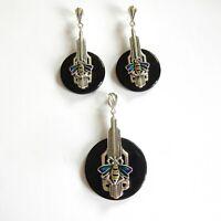 Vintage Art Deco Enamel Butterfly Sterling Silver Jewelry Set Earrings Pendant