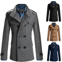 Big Sale New Mens Trench Coat Long Coats Winter Jackets Double Breasted Overcoat
