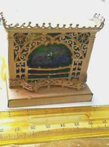 VINTAGE VICTORIAN FILIGREE SOFT METAL GERMAN DOLLHOUSE DOLL FIREPLACE FURNITURE