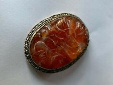Antique Carved Jade Brooch China Amber Red Color Vintage