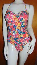 M&S 'Secret Slimming' Optional Padded Bandeau Floral Swim Suit 8 Pink Mix BNWT