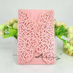 Laser Cut Rose Flower Wedding Invitations Party Evening Invite Card Personalized
