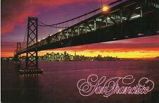 postcard USA  California Sunset  behind San fransisco with Bay Bridge  posted