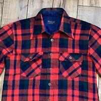 Vintage Woodland Red Plaid Flannel Medium 15-15 1/2 Shirt 100% Virgin Acrylic