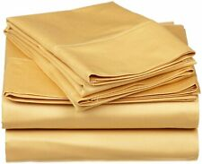 100% Cotton - Attached Waterbed Sheet Set 1000 TC All Size Gold Solid
