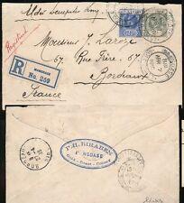 GOLD COAST WW1 UNCENSORED 1916 REGISTERED to FRANCE MANGOASE 4 1/2d FRANKING