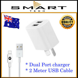 AC Wall Charger Adapter + 2M Cable for iPhone 13 12 Pro SE 7 8 Plus XR XS Max 11
